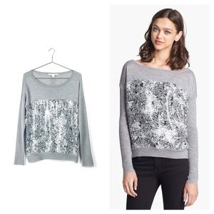 DIANE VON FURSTENBERG gray wool gracie sweater